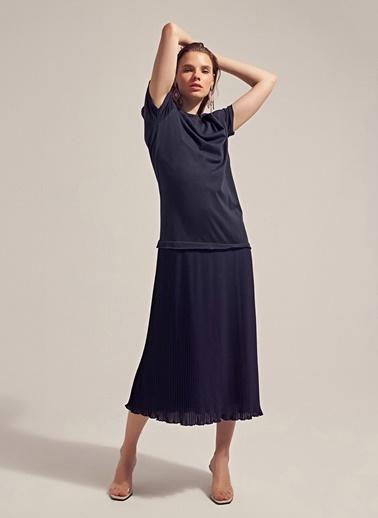 Monamoda Şifon Piliseli Elbise Lacivert